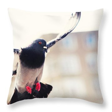 Messenger Of Love. Pink Spring In Amsterdam Throw Pillow by Jenny Rainbow