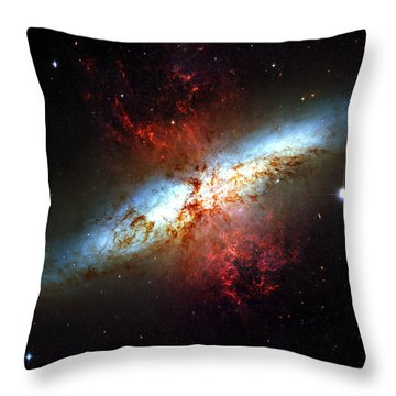 Messier 82 Throw Pillow by Ricky Barnard