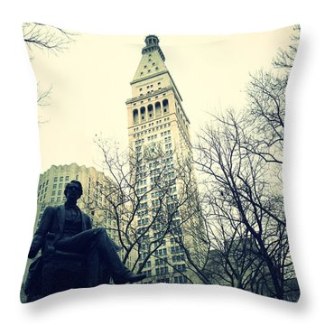 Met Life And Madison Square Park Throw Pillow