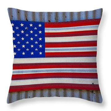 Metal American Flag Throw Pillow by Garry Gay