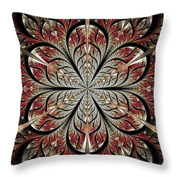 Metal Flower Throw Pillow by Anastasiya Malakhova