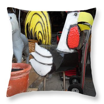 Metal Rooster And Donkey Throw Pillow by Donna Wilson