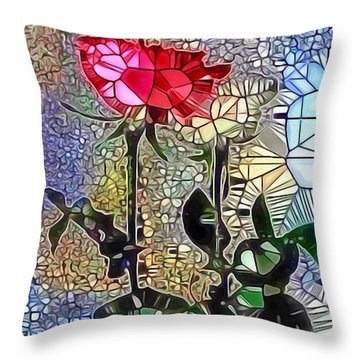 Metalic Rose Throw Pillow