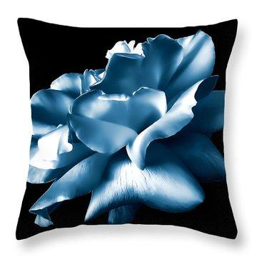 Metallic Blue Rose Flower Throw Pillow by Jennie Marie Schell