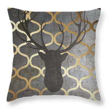 Metallic Deer Nature Throw Pillow by Andi Metz