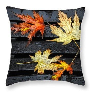 Metallic Leaves Throw Pillow