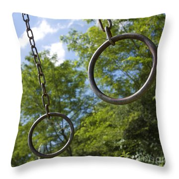 Metallic Rings Throw Pillow