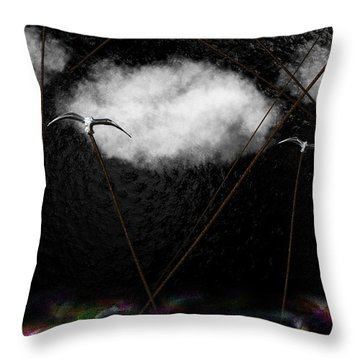 Metallic Seagulls Suspended Over A Rainbow Ocean Throw Pillow
