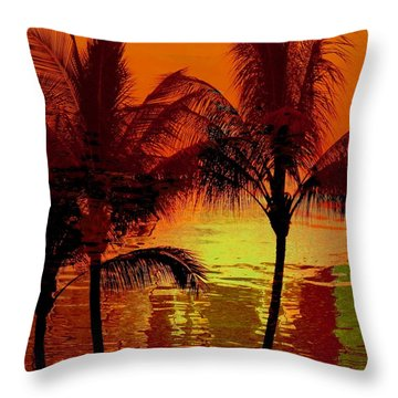 Metallic Sunset Throw Pillow by Athala Carole Bruckner