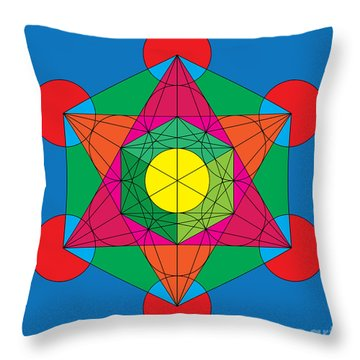 Metatron's Cube In Colors Throw Pillow