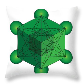 Metatron's Cube In Green Throw Pillow