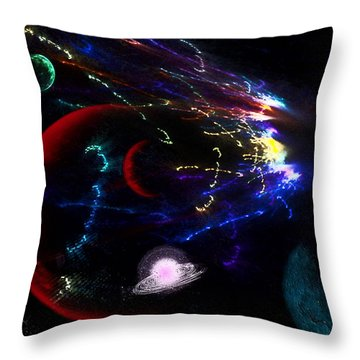 Meteor Explosion Throw Pillow by Camille Lopez