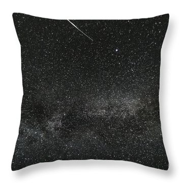 Meteor With The Milky Way Throw Pillow