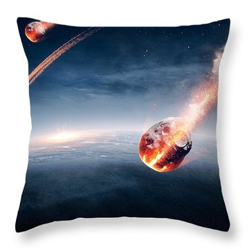 Meteorites On Their Way To Earth Throw Pillow