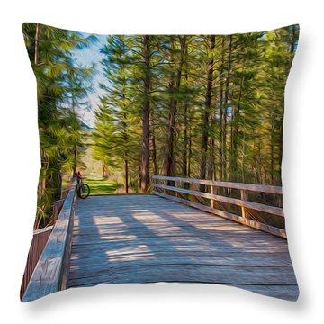 Methow Valley Community Trail At Wolf Creek Bridge Throw Pillow by Omaste Witkowski