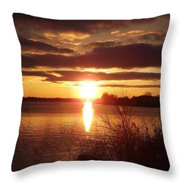 Metro Beach Sunset Throw Pillow by Bill Woodstock
