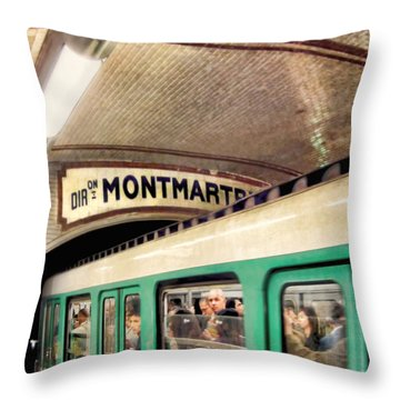 Throw Pillow featuring the photograph Metro To Montmartre. Paris   by Jennie Breeze