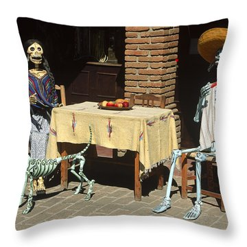 Mexican Antique Family Throw Pillow by Roderick Bley