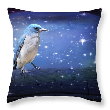 Mexican Blue Jay Throw Pillow