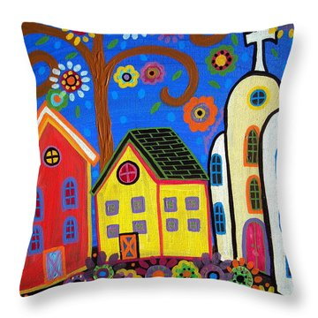 Mexican Church Town Throw Pillow