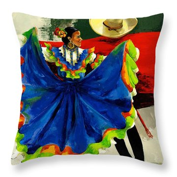 Mexican Dancers Throw Pillow by Elisabeta Hermann