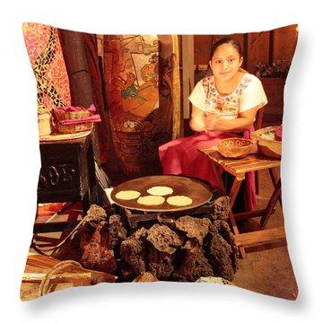 Mexican Girl Making Tortillas Throw Pillow