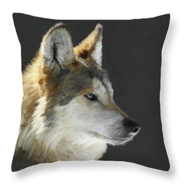 Mexican Grey Wolf Portrait Freehand Throw Pillow by Ernie Echols