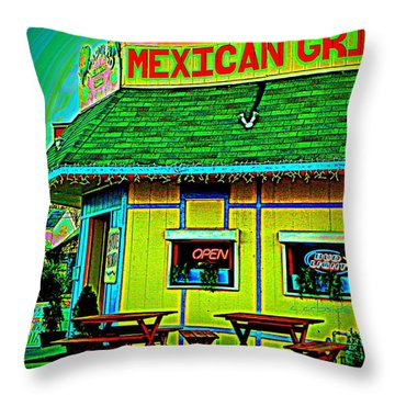 Mexican Grill Throw Pillow by Chris Berry