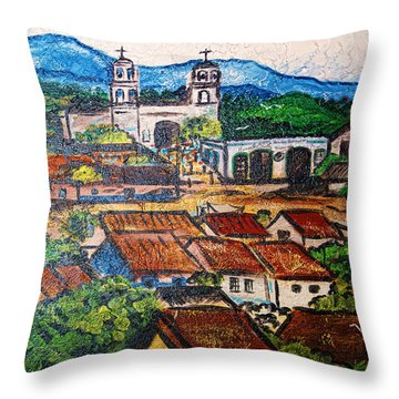 Mexican Mural Throw Pillow by Linda Phelps