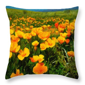 Mexican Poppies Throw Pillow