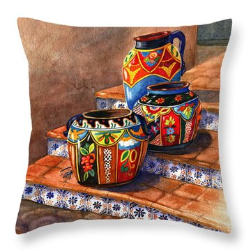 Mexican Pottery Still Life Throw Pillow by Marilyn Smith