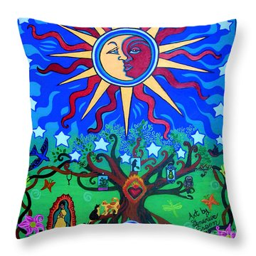 Mexican Retablos Prayer Board Small Throw Pillow by Genevieve Esson