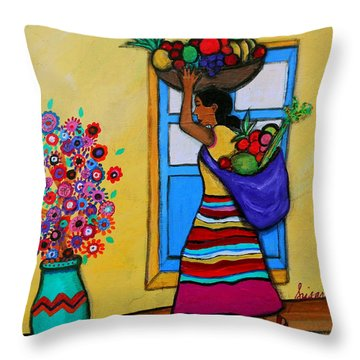 Mexican Street Vendor Throw Pillow