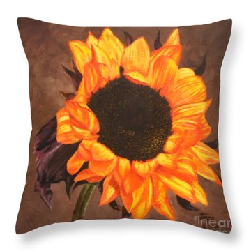 Throw Pillow featuring the painting Mexican Sunflower by Jimmie Bartlett