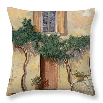 Mezza Bicicletta Sul Muro Throw Pillow by Guido Borelli