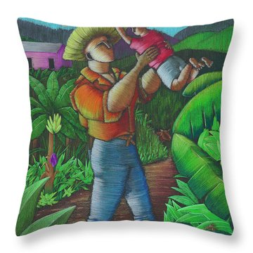 Throw Pillow featuring the painting Mi Futuro Y Mi Tierra by Oscar Ortiz