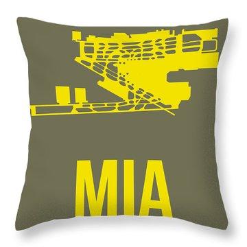 Mia Miami Airport Poster 1 Throw Pillow