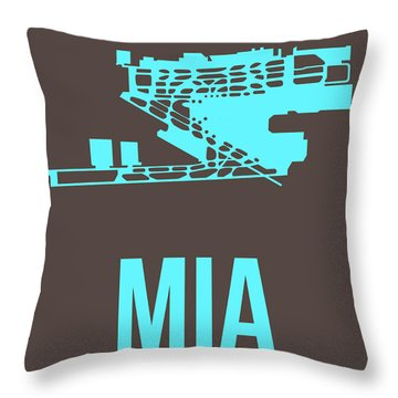Mia Miami Airport Poster 2 Throw Pillow by Naxart Studio
