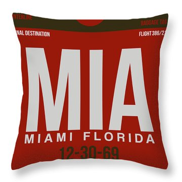 Mia Miami Airport Poster 4 Throw Pillow by Naxart Studio