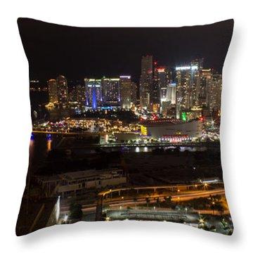 Miami After Dark II Skyline  Throw Pillow