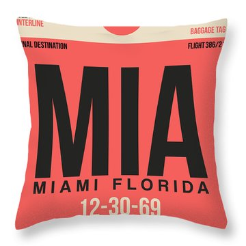 Miami Airport Poster 3 Throw Pillow