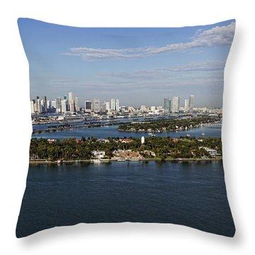 Miami And Star Island Skyline Throw Pillow