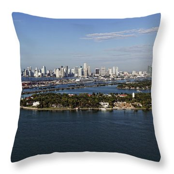 Throw Pillow featuring the photograph Miami And Star Island Skyline by Gary Dean Mercer Clark