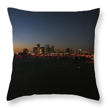 Miami At Night Throw Pillow by Gary Wonning
