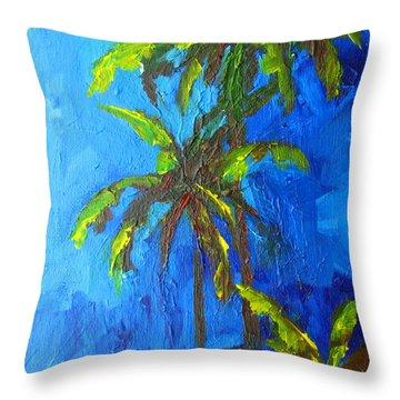Miami Beach Palm Trees In A Blue Sky Throw Pillow by Patricia Awapara