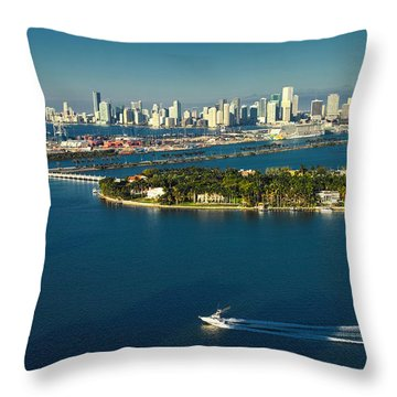 Throw Pillow featuring the photograph Miami City Biscayne Bay Skyline by Gary Dean Mercer Clark