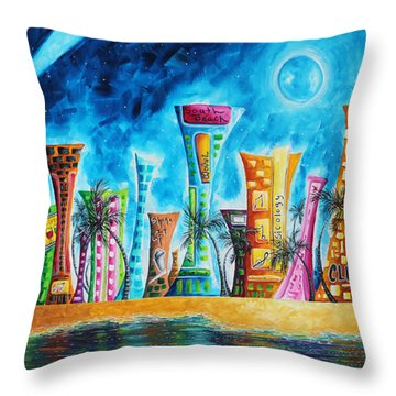 Miami City South Beach Original Painting Tropical Cityscape Art Miami Night Life By Madart Absolut X Throw Pillow