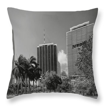Miami Cityscape  Bw Throw Pillow