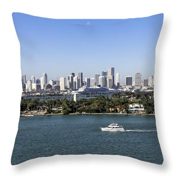 Throw Pillow featuring the photograph Miami Daytime Panorama by Gary Dean Mercer Clark