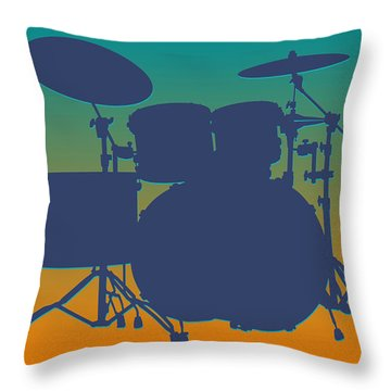 Miami Dolphins Drum Set Throw Pillow by Joe Hamilton